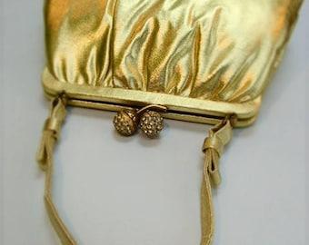 French Vintage Andé 1950's Gold Metallic Diamante Handbag Evening Bag Wedding