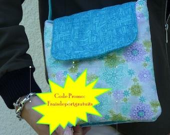 Three pockets cotton Molletonne linen shoulder bag