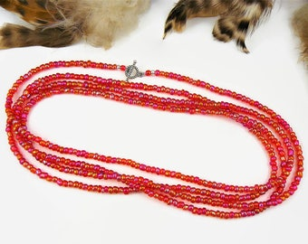 Extra Long Beaded Necklace, Seed Bead Necklace, Long Seed Bead Necklace, Layering Necklace or Wrap Bracelet, Seed Bead Choker, Boho Style