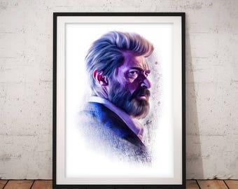 Logan, Wolverine, Hugh Jackman, Artwork, Handmade, Printable Art, Poster, Instant Download, Digital Print, Home Decor, Wall Art, Download
