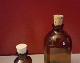 Amber Potion Bottles, vials, glass bottle, corked