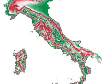 Italy Topographic Map in Green and Red