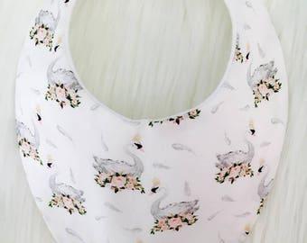 Floral Swans Baby Bib, Bandana Bib, Dribble Bib, Baby Shower Gift, Newborn Gift, Baby Girl