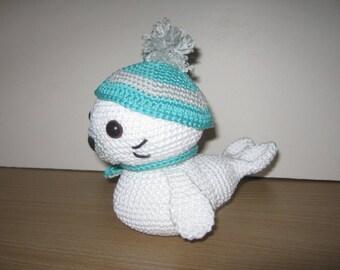 Handmade, Crochet Toy, Soft Toy, Stuffed Animal, Amigurumi Seal - Cleo