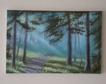 """Painting """"Morning in a Pine Forest"""", painting on canvas, with the author's signature, 7.87х11.81 inches (20х30 cm)"""