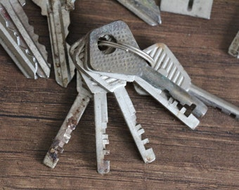 Vintage Soviet keys set of old metal keys USSR era Russian assorted mixed rusty metal flat small keys vintage finds supplies door decor