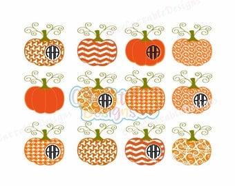 Pattern Pumpkin Monogram Frames Svg Dxf Eps Png Cut file Images Clipart Pumpkin Fall, Thanksgiving Halloween Cut File Silhouette Cricut