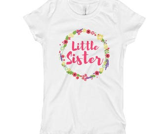 Little Sister Big Sister Pregnancy Announcement Sibling Family Matching Girl's T-Shirt