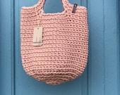 Crochet Tote Bag Knitted Handbag BABY PINK color Modern Scandinavian Style