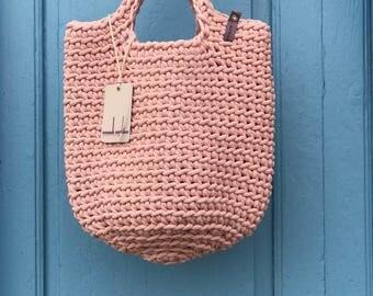 Scandinavian Style Crochet Bag Knitted Handbag BABY PINK color
