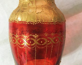 Hand Painted Vase in Red and Gold