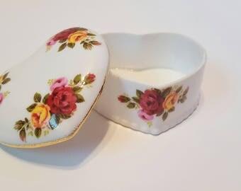 Cottage Rose Fine Bone China Heart Trinket Box with Lid