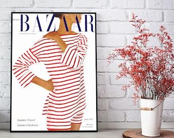 Bazaar Cover 1951. Fashion wall art, fashion print. Fashion Poster, Fashion decor. Harper's Bazaar cover. Bazaar magazine. Free shipping.