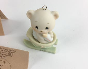 Vintage Precious Moments Bear The Good News Of Christmas Special 1987 Issue Miniature Ornament Figurine 104515