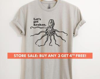 Let's Get Kraken T-shirt, Ladies Unisex T-shirt, Animal Pun T-shirt, Funny Octopus Shirt, Giant Squid Shirt, Short & Long Sleeve T-shirt