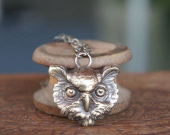 Wise Owl Pendant Necklace French Brass Stamping