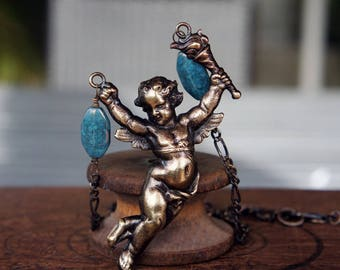 French Brass Cherub Cupid Necklace with Brass Chain and Earthy Blue Czech Glass Beads