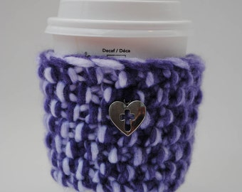 Acrylic! Purple White CROSS in HEART handknit cupcozy - handmade cup sleeve - reusable cup cozy - mason jar cozy - christian gift - one of a