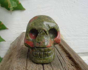 Unakite Skull - Natural Gemstone Carved Skull