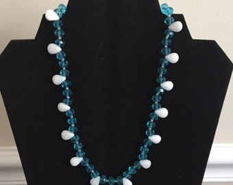 Sky Blue glass Beads with White glass Teardrops Beaded Necklace