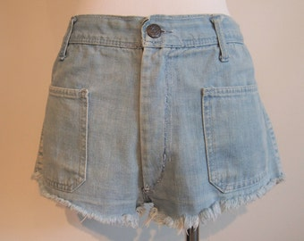 1960's Vintage High Waisted Jean Shorts; Cutoff Shorts; Vintage Denim Shorts