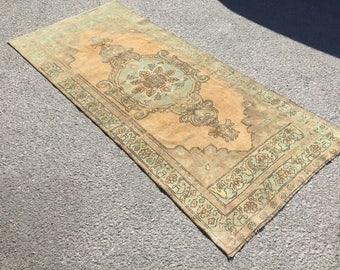 Oushak rug,Turkish vintage Rug,Tribal Rug Medallion Pastel oushak rug,vintage Wool Rug,Eclectic rug bohemian furniture.224x102/3'3x7'3