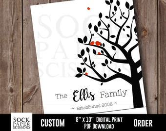 Personalized Family Tree Digital Download, Custom Family Tree Print, Family Name Print, Family Tree With Birds, Anniversary Gift, Sku-CHO101