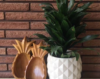 Vintage Monkey Pod Wood Pineapple Bowls