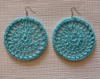 Crochet hoop earrings, thin turquoise cotton  yarn