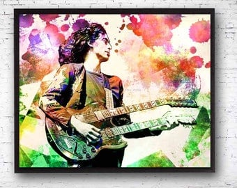 Jimmy Page Art, Led Zeppelin, Jimmy Page, Led Zeppelin Art, Robert Plant, Jimmy Page Guitar, Page Plant, 60s Music, Rock Band Prints