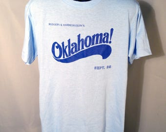 1985 Oklahoma! Musical Tee Sz Medium Light Blue Soft T-Shirt Soffe 80s 1980s Community Theater Broadway Graphic Okie OK Rodgers Hammerstein