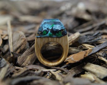 Tender ring for Princess,   resin ring wood, winter ring, miniature, wood jewelry, bamboo ring,   In stock  4 1/2 size