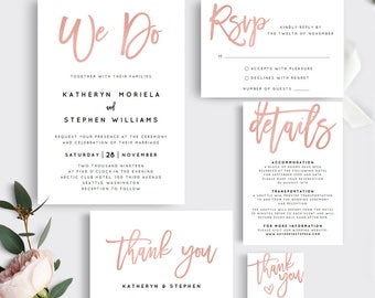 Printable Wedding Invitation Template. Rose Gold We Do Wedding Invitation  Set. Printable Wedding Invitation