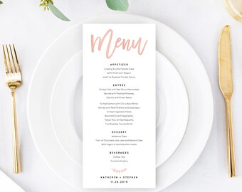 Rose Gold Wedding Menu Template Download, Printable & Editable Calligraphy Wedding Menu, A4, US Letter Wedding Menus PDF Instant Download.