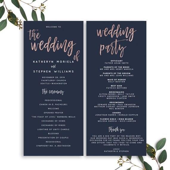 Navy Blue Rose Gold Wedding Program Template Modern Calligraphy Printable Catholic PDF
