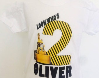 Boys Construction birthday t-shirt,Boys Digger shirt,personalised boys construction shirt,Toddler birthday shirt,(any age,any name)