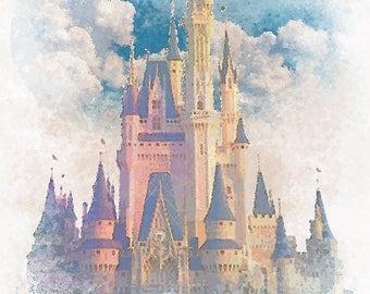 Cinderella's Castle Watercolor Print