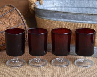 Set of Four (4) Vintage, Luminarc Cavalier Small Wine Glasses, Cordials, Ruby Red Made in France