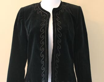 Black Velvet Blazer / Jacket - Vintage Clothing