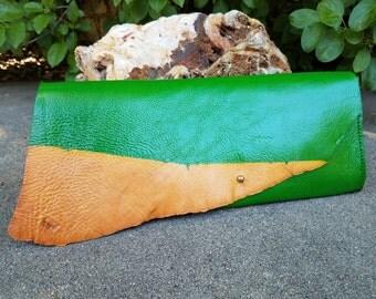Kelly Green & Raw Leather Clutch