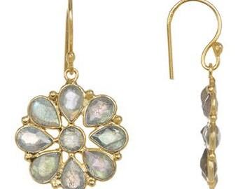 0.925 sterling silver gold vermeil white  onyx flower earring