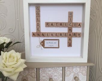 Golden Wedding Anniversary Scrabble Frame, Scrabble Art 50th Wedding Anniversary Frame