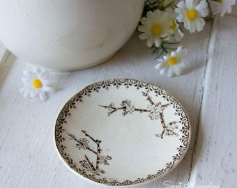 Antique Brown Transferware Butter Pat - Floral design - English Ironstone - 1800s