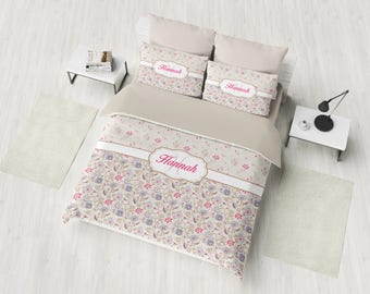Custom Bedding Set, Personalized Duvet Cover Set, Monogram Bedding, Floral Pattern Bedding, Twin, Full, Queen, King, Custom Girl Bedding
