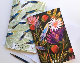 Pair of notebooks, pocket notebooks, birds, small notebook, cute stationary, gifts for her, strawberries, journal, patterned pocket notebook