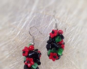 Agate statement earrings Gemstone earrings Ethnic earrings 80s earrings Retro earrings Casual earrings Vintage style earrings