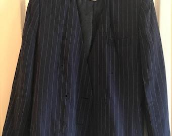 Vintage Amanda Smith Blazer and Skirt Suit - Blue With Yellow Pinstripes - Size 6 Petites