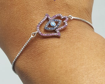 Fuchsia Hamsa Hand Bracelet