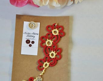 LACE BOOKMARK, tatted bookmark, bookmark, lace, tatting, tattinger, tatting lace, tatting lace bookmark, book accessory, Harry Potter