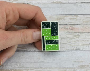 Green Ring, Statement Ring Green, Light Green Ring, Geometric Ring, Adjustable Ring Green, Polymer Clay Ring, Rectangle Green Ring, Unique